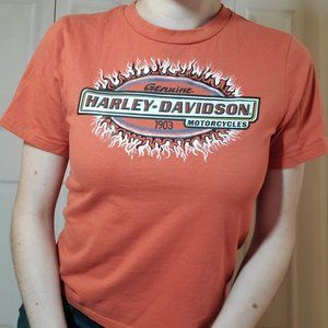 70's inspired orange colored Harley-Davidson logo flames / fire crewneck t-shirt